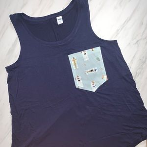 Rifle Paper Co Pocket Old Navy Sleeveless Navy Top